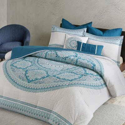 Saravia 7 Piece Cotton Comforter Set Size: Full/Queen