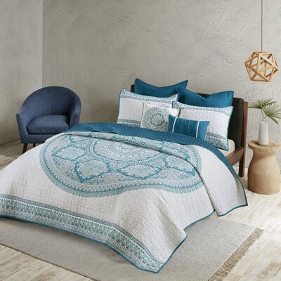 Coletta Coverlet Set Size: Full/Queen, Color: Aqua
