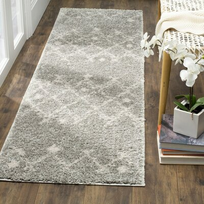 Saira Light Gray/Cream Area Rug Rug Size: 51 x 76