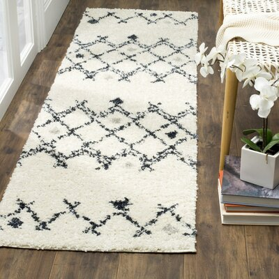 Mangual Cream/Navy Area Rug Rug Size: Runner 23 x 8