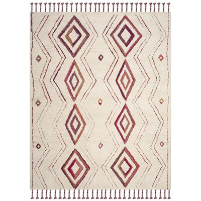 Lockheart Hand-Tufted Beige/Pink Area Rug Rug Size: Rectangle 8 x 10