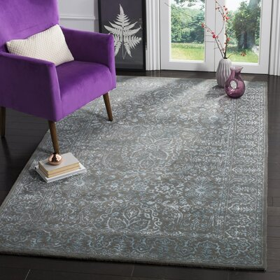 Samaniego Hand-Tufted Blue/Dark Gray Area Rug Rug Size: Square 6
