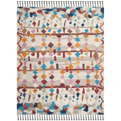 Lockheart Hand-Tufted Beige/Blue Area Rug Rug Size: Rectangle 8 x 10