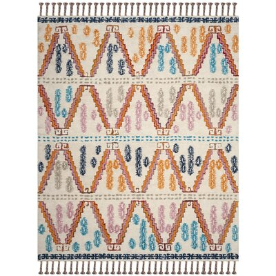 Samaniego Hand-Tufted Orange/Blue Area Rug Rug Size: Round 6