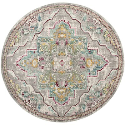 Lulu Floral Gray/Light Blue Area Rug Rug Size: Round 67