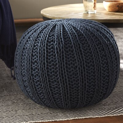 Gilmour Hand Knitted Traditional Pouf Ottoman Upholstery: Midnight Blue