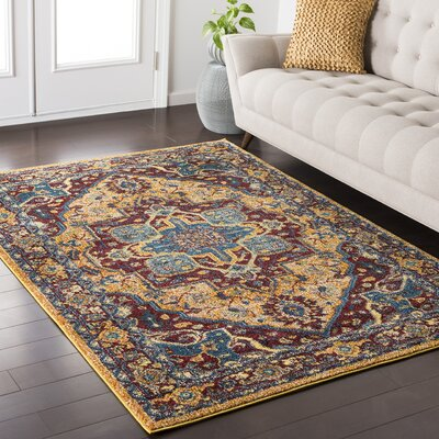 Nichole Yellow / Red Area Rug Rug Size: 53 x 73