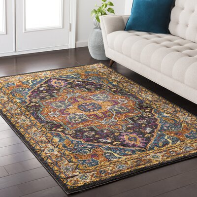 Nichole Yellow/Black Area Rug Rug Size: Rectangle 710 x 103