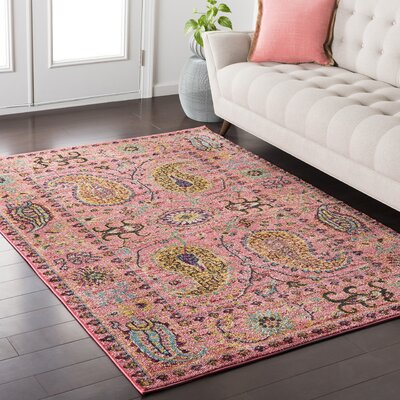Nichole Paisley Pink Area Rug Rug Size: Rectangle 710 x 103