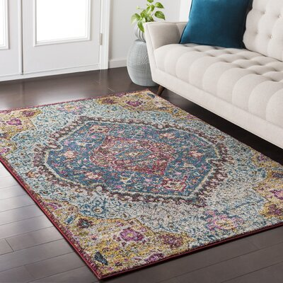Nichole Oriental Blue/Pink Area Rug Rug Size: Rectangle 710 x 103
