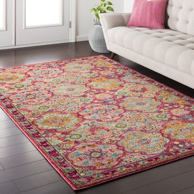 Nichole Pink Area Rug Rug Size: Rectangle 53 x 73