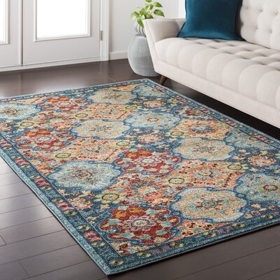 Nichole Oriental Blue Area Rug Rug Size: Rectangle 53 x 73