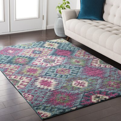 Nichole Southwestern Blue/Pink Area Rug Rug Size: Rectangle 53 x 73