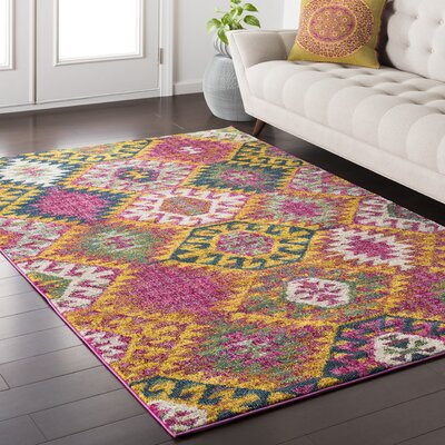 Nichole Geometric Blue/Pink Area Rug Rug Size: Rectangle 5'3