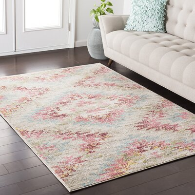 Nichole Blue/Red Area Rug Rug Size: Rectangle 53 x 73