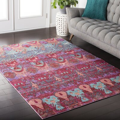 Fields Pink / Green Area Rug Rug Size: Rectangle 53 x 76