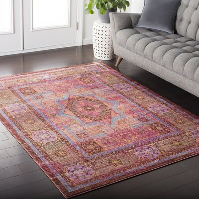 Fields Pink / Blue Area Rug Rug Size: 53 x 76