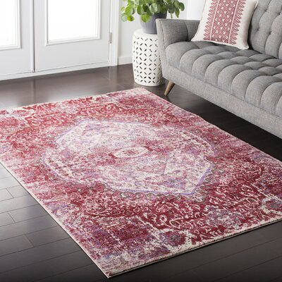 Fields Pink / Purple Area Rug Rug Size: Rectangle 53 x 76