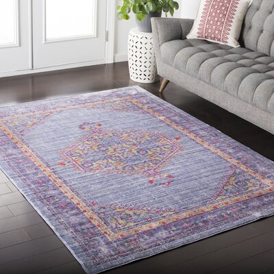 Kamil Purple / Yellow Area Rug Rug Size: 2 x 3