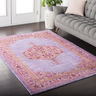 Fields Purple / Pink Area Rug Rug Size: Rectangle 53 x 76