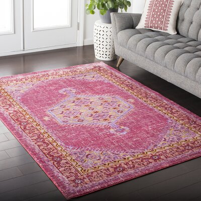 Fields Pink / Orange Area Rug Rug Size: 53 x 76