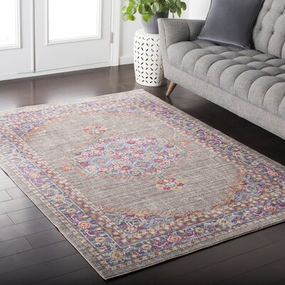 Fields Contemporary Purple / Blue Area Rug Rug Size: 2' x 3'