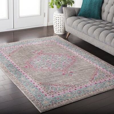 Fields Blue / Pink Area Rug Rug Size: 53 x 76