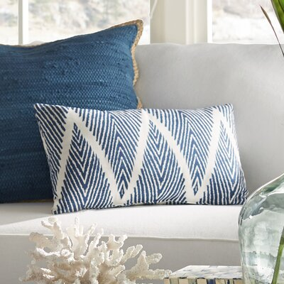 Cherita 100% Cotton Throw Pillow Color: Blue / White, Size: 11.5 H x 23 W
