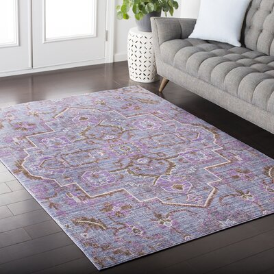 Fields Purple / Brown Area Rug Rug Size: 53 x 76
