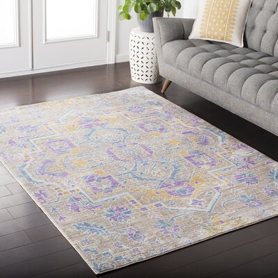 Kamil Blue / Purple Area Rug Rug Size: 53 x 76