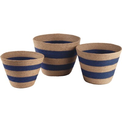 3 Piece Striped Mia Basket Set Color: Blue