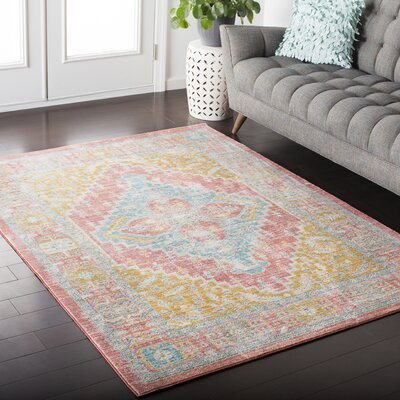 Fields Contemporary Pink Area Rug Rug Size: 53 x 76