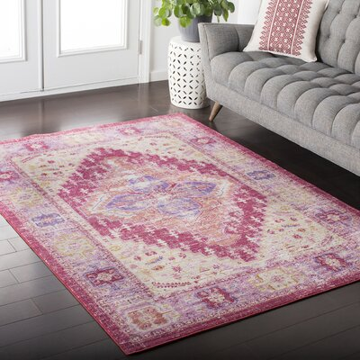 Fields Pink / Yellow Area Rug Rug Size: 53 x 76