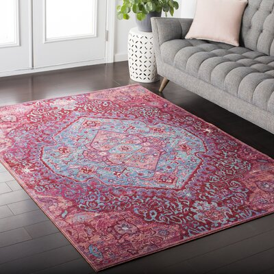 Fields Contemporary Pink / Blue Area Rug Rug Size: 53 x 76