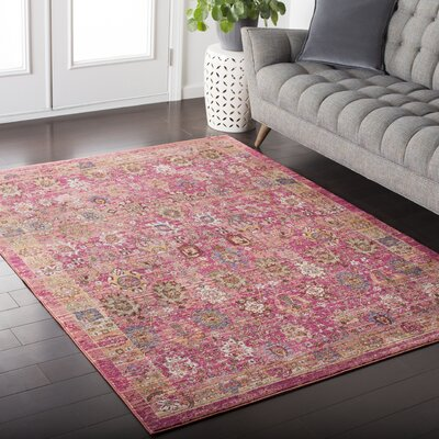 Fields Oriental Pink / Yellow Area Rug Rug Size: 311 x 57