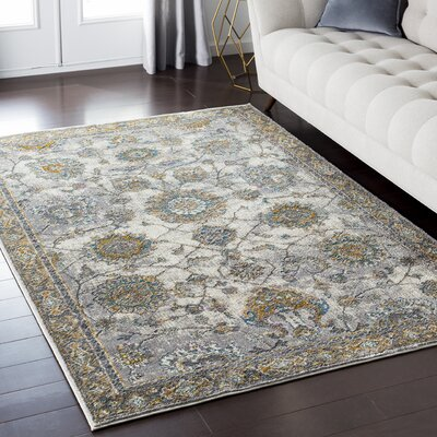 Nicole Floral Gray Area Rug Rug Size: Rectangle 67 x 96
