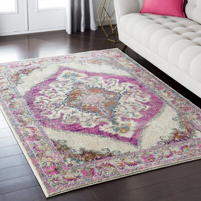 Nicole Pink Area Rug Rug Size: Rectangle 53 x 73