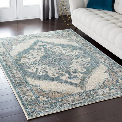 Nicole Teal Blue Area Rug Rug Size: Rectangle 710 x 103