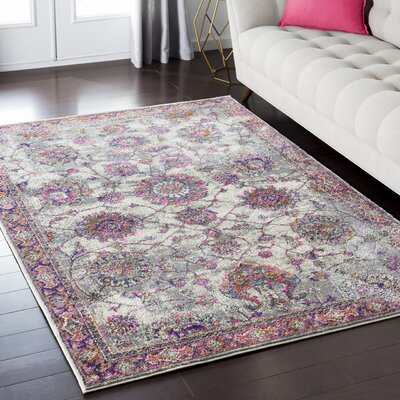 Nicole Pink/Gray Area Rug Rug Size: Rectangle 67 x 96