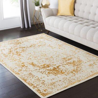 Zita Beige/Orange Area Rug Rug Size: 53 x 73