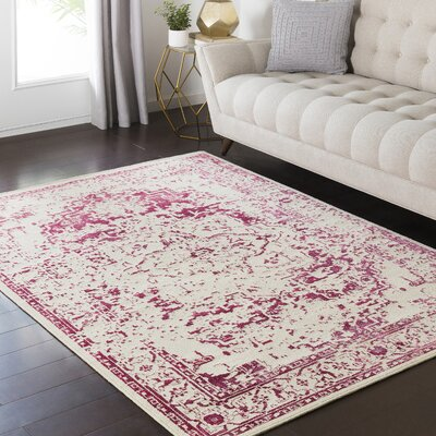 Zita Beige/Pink Area Rug Rug Size: Rectangle 53 x 73