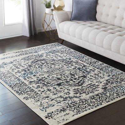 Zita Gray/Black Area Rug Rug Size: 53 x 73