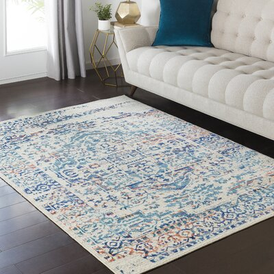 Zita Gray/Blue Area Rug Rug Size: Rectangle 53 x 73