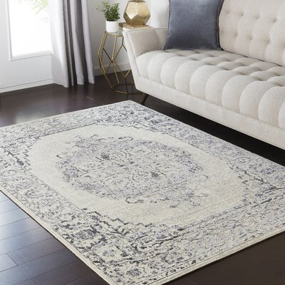 Puran Gray/Black Area Rug Rug Size: Rectangle 710 x 910
