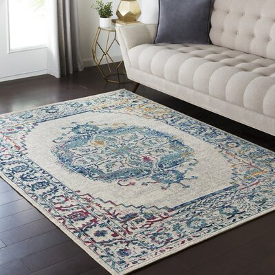 Puran Gray/Teal Area Rug Rug Size: Rectangle 110 x 211