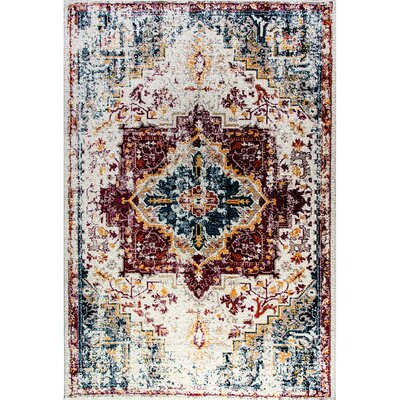 Gina Red/Blue/Yellow Area Rug Rug Size: 67 x 96