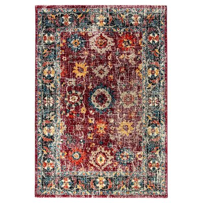 Gina Red/Gray/Blue Area Rug Rug Size: 67 x 96