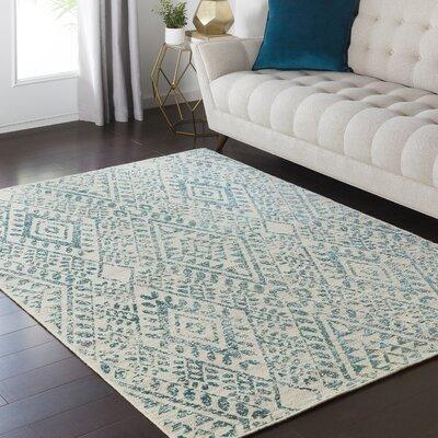 Puran Teal/Cream Area Rug Rug Size: 110 x 211