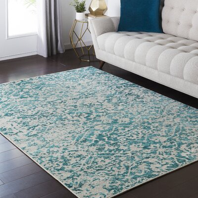 Puran Gray/Blue Area Rug Rug Size: Rectangle 110 x 211