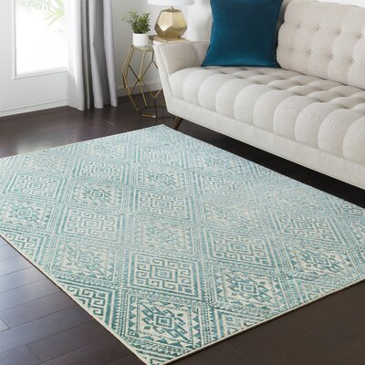 Zita Beige/Blue Area Rug Rug Size: Rectangle 53 x 73